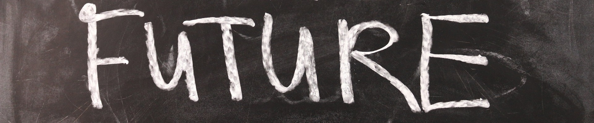 Future in Kreide auf Tafel
